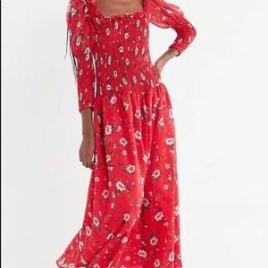 New UO Urban Outfitters Greta floral Red dress XS